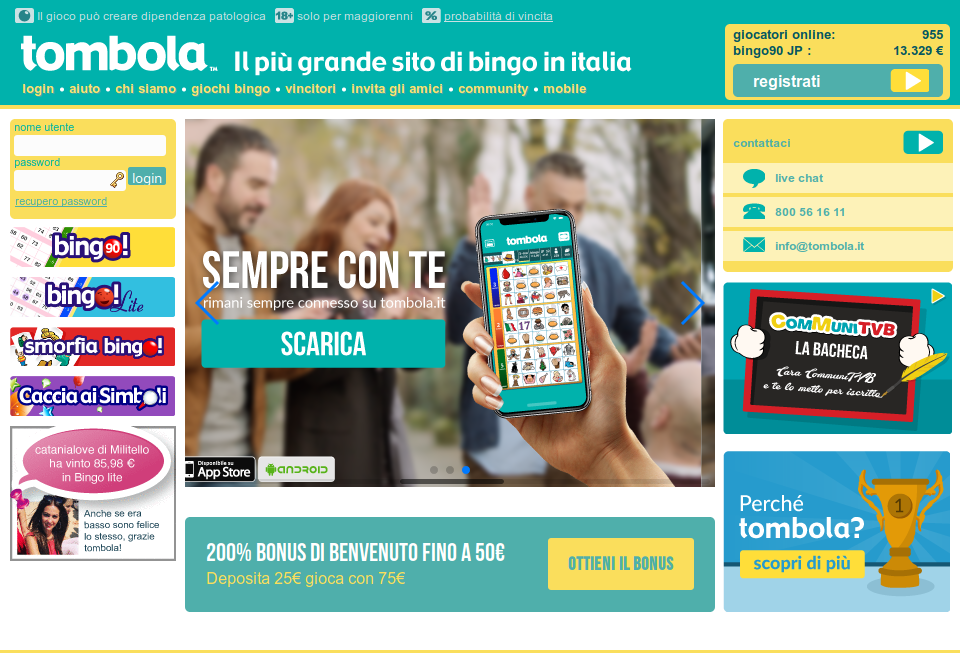 Home page di tombola.it