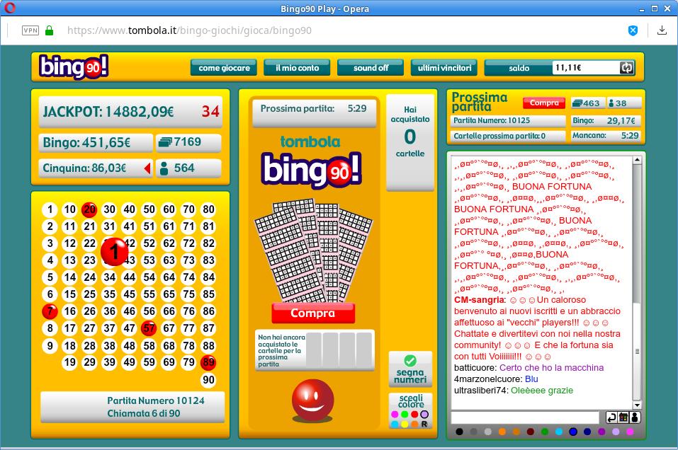 Giocare bingo 90 su tombola.it