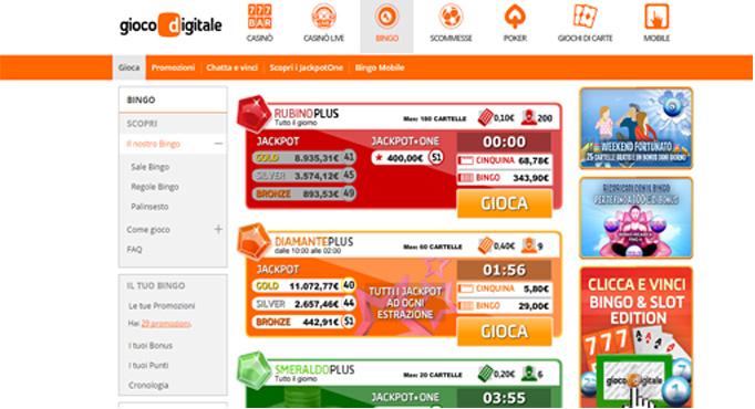 Gioco bingo digitale