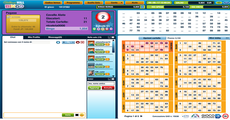 come giocare a bingo su William Hill