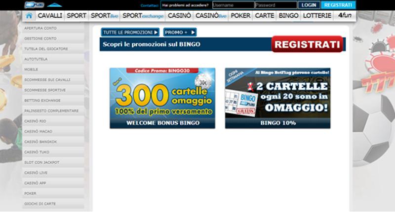 Promozioni bingo Betflag
