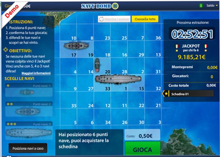 Schermata di gioco di Navy Bomb