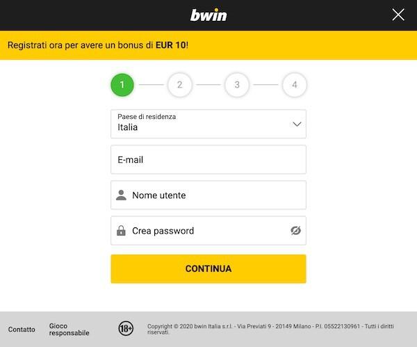 iscrizione bwin bingo
